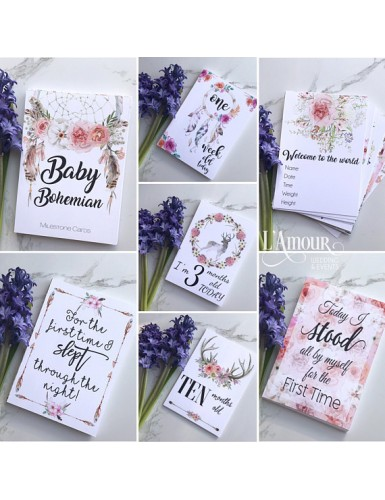 Baby Bohemian Milestone Cards